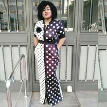 купить Dress Vintage Polka Dot White Black Printed Retro Women Summer Short Sleeve waist V-neck Plus Size Long maxi Dress дешево