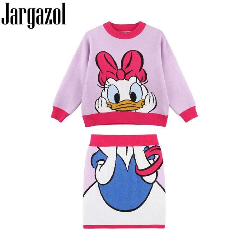 Roupa Dos Miúdos Outono inverno Menina Malha Weater Top & saia Bonito Coreano Daisy Duck Bordado Conjunto de Roupas Da Menina Da Criança traje
