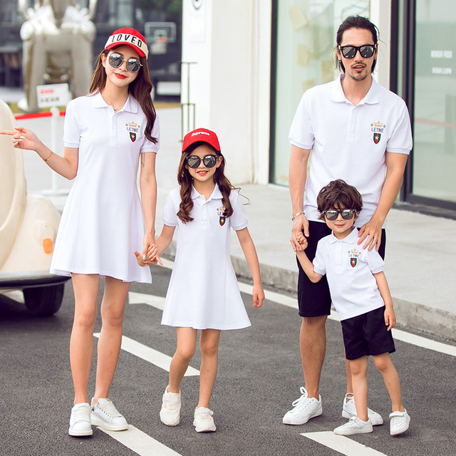 2020 New Father Son Sport Outfits Clothes Mommy and Me Dresses Slim Bodycon Clothing Mother and Daughter Long Dress Family Shirt