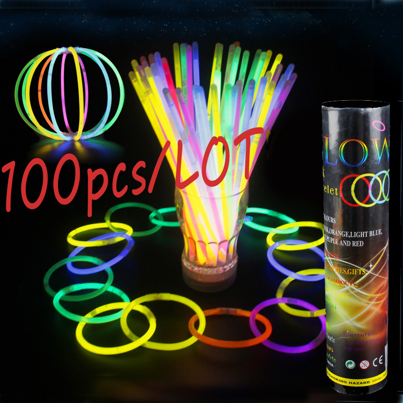 100Pcs /Lot Glowing Sticks Fluorescence Flashing Bracelets Necklace Neon Bright Colorful LED Light Wedding Party Event Festival