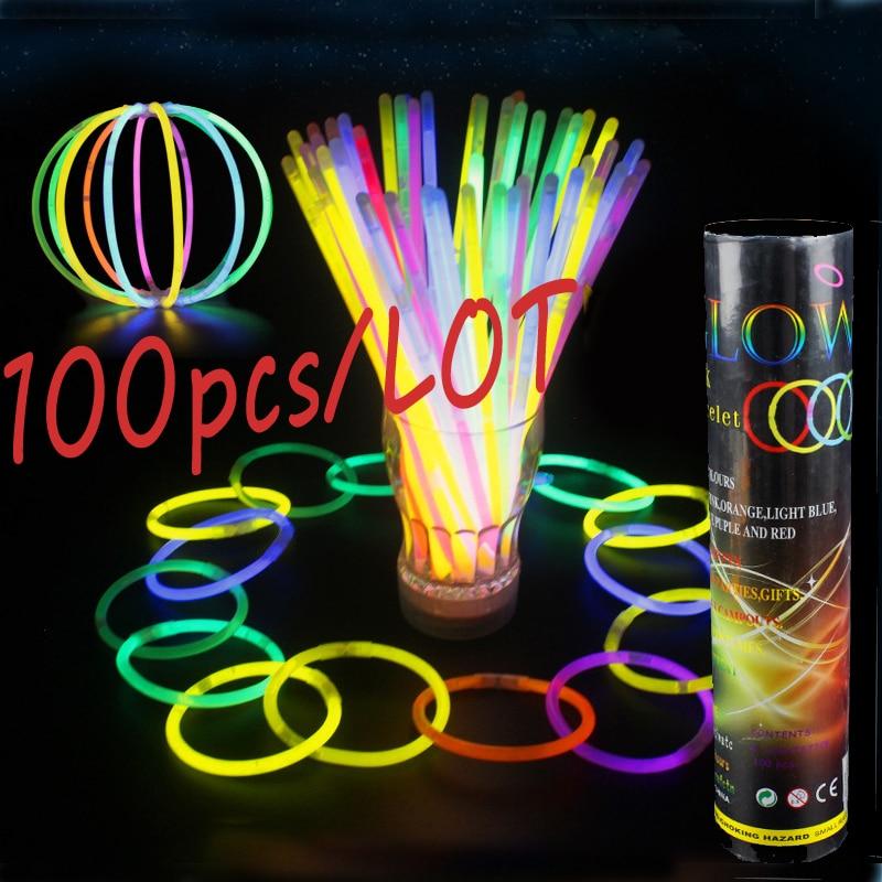 100Pcs /Lot Glowing Sticks Fluorescence Flashing Bracelets Necklace Neon Bright Colorful LED Light Wedding Party Event Festival