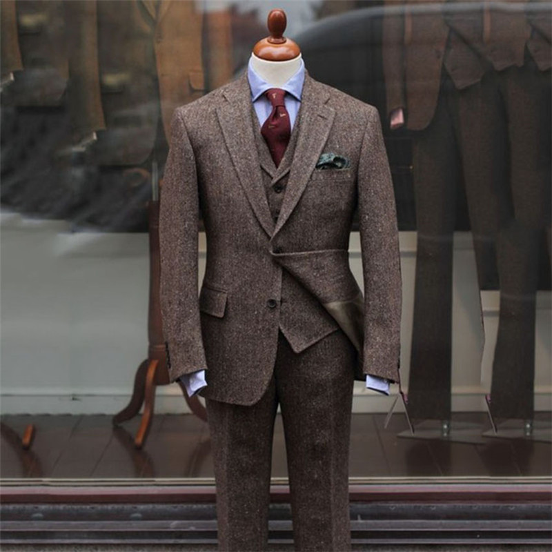 2020 Latest Coat Pants Designs Brown Tweed Suits Men Slim Fit Formal Wedding Men Suit 3 Pieces Tuxedo Groom Terno Masculino