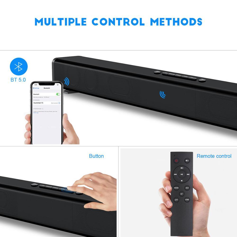 TV Soundbar 60W Bluetooth Lautsprecher Stilvolle Hifi Heimkino Systeme Sound Bar 3D Stereo Surround Unterstützung Optische/AUX/TF Karte/USB