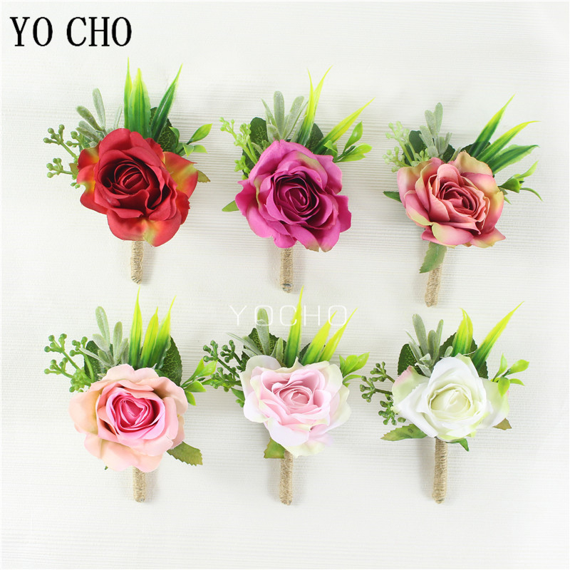 YO CHO Bride Wrist Corsage Men Boutonniere Girl Bracelet Groom Brooch Pins Wedding Bridesmaids Wrist Corsage Silk Rose Flowers