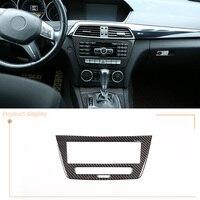 Soft Carbon Fiber Car Multimedia Switch Panel Sticker Accessories For Mercedes Benz C Class W204 2011 2013