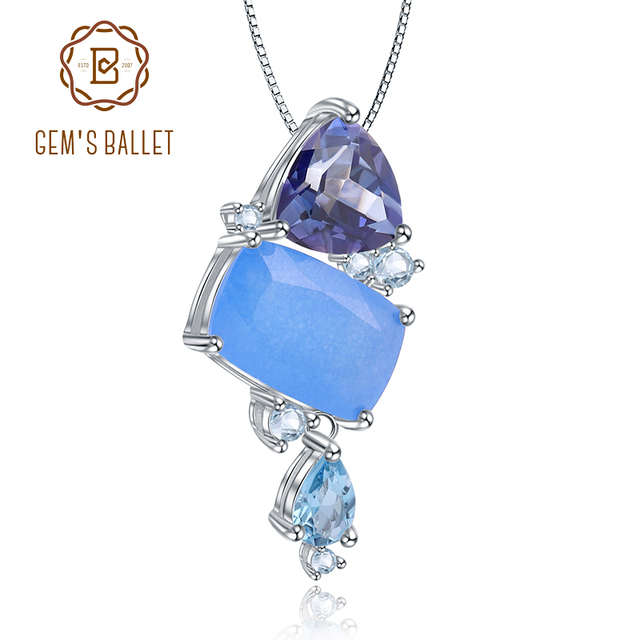 GEMS BALLET Natural Aqua blue Calcedony Gemstone Fine Jewelry 925 Sterling Silver Handmade Candy Pendant Necklace For Women