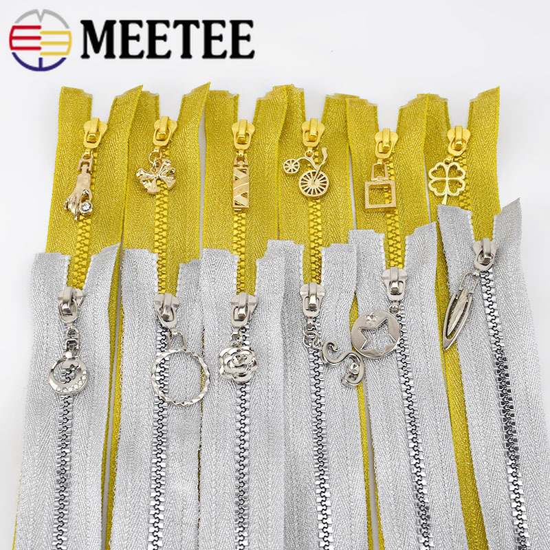 2/5pcs 60cm 5# Gold Silver Open-end Resin Zipper For Sewing Coat Down Jacket Bag Zippers DIY Sewing Tailor Accessories ZA407