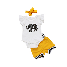 Cute Baby Girl Clothes Set 0-18M Newborn Baby Girls Boys Elephant Tops Romper Shorts Bottoms Outfits Set Clothes newborn baby girl clothes sleeveless tops shorts 2pcs outfits set 0 18m girls rompers clothing