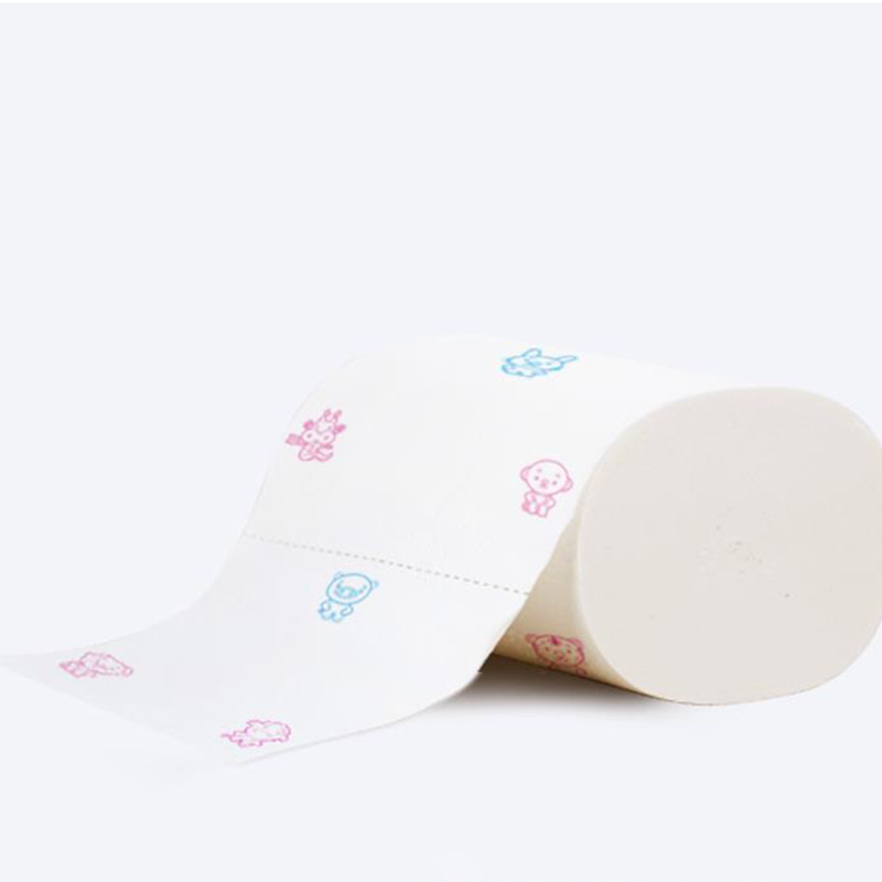 1X Cute Printed 5 Ply Toilet Paper Bulk Rolls Bath Tissue Bathroom White Soft Odorless Household Paper Primary Wood Pulp
