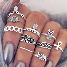 10pcs/Set Antique Gold Silver Moon Elephant Animal Flower Crystal Ring Knuckle Wedding Set Bohemia Geometric Jewelry