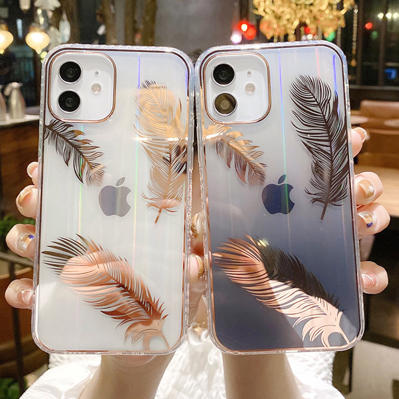 Funda de teléfono con pluma láser gradiente para iPhone, carcasa trasera transparente a prueba de golpes para iPhone 11 12 Pro Max 12Mini XR XS Max X 7 8 Plus 1