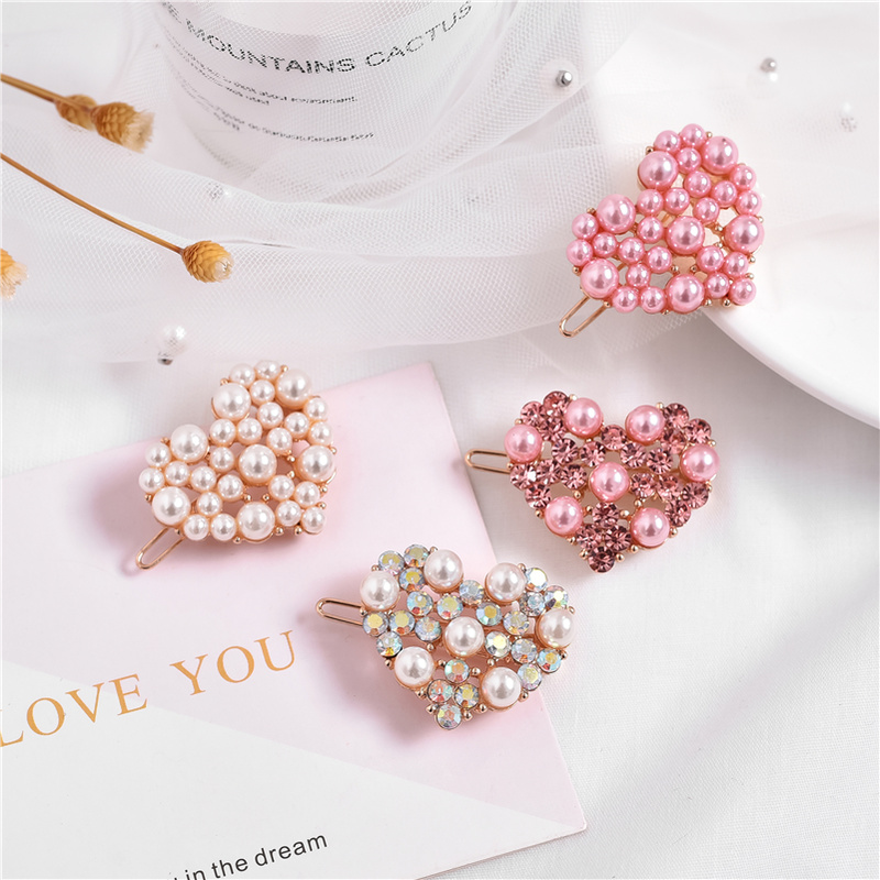 New 1pc Fashion Pink Pearl Hair Clips For Girls Rhinestone Snap Hairpins For Women Hairgrips Barrette Adult Hair Accessories