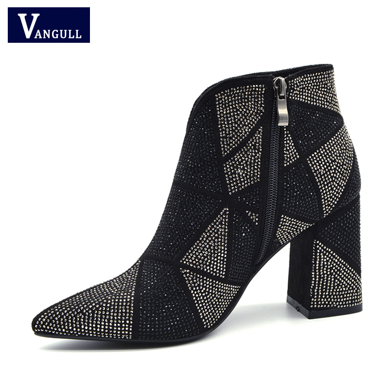 2020 New Fashion Bling Crystal Rhinestones Women Boots Square Heels Shoes Sexy Pointed Booties Thick Heel Night Club Party Boots