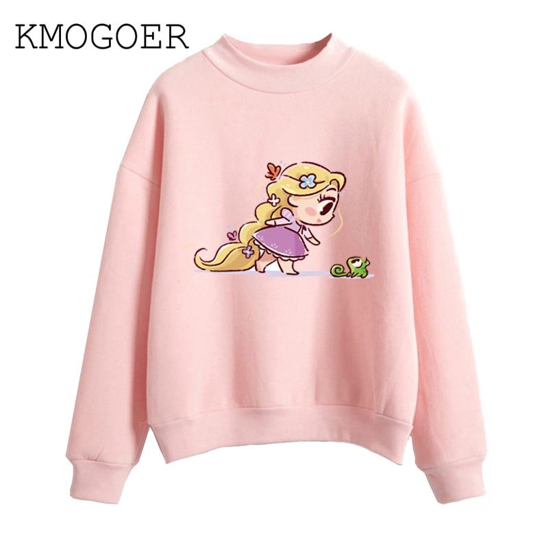 2019 New Kawaii Rapunzel And Elfin Print Sweatershirt Princess Womens Clothing Female Casual Harajuku Women Pullover Femme Vogue