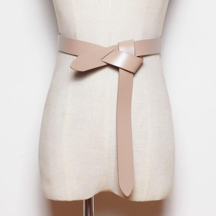 Fashion Solid Cow Leather Women Belts Self-tie Non-Buckle Coat Dress Jean Belt Waistband Autumn Genuine Leather Waist Belt Strap