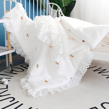 Cotton Quilt Blanket Muslin Newborns Baby Winter with Falbala Princess Thick Bed