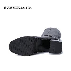 Image 4 - Botas de inverno das mulheres novas BASSIRIANA2019. Pele natural quente. Luta de pele. Parte inferior antiderrapante de borracha. Sapatos baixos.