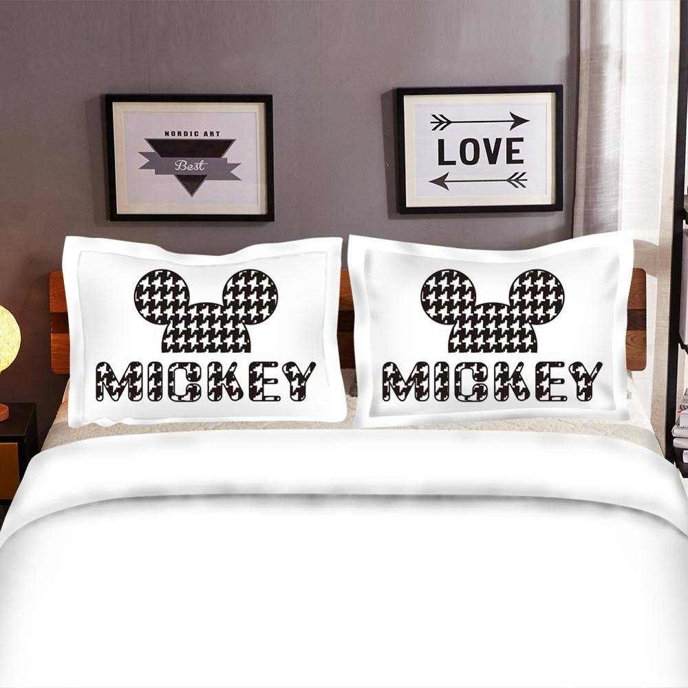 Disney Mickey Minnie Bedding Set Adult Children Christmas Home textile Single Twin Queen King Size Pillow Case Duvet Cover Gift in Bedding Sets from Home Garden