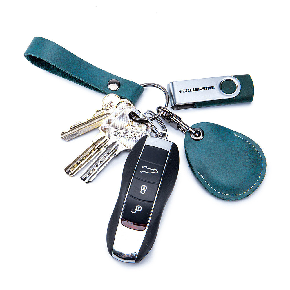 Genuine Leather Key Holder Bank Card Pocket Mini Bus Card Key Pouch Slim Housekeeper Key Access Entrance Guard Card Protecter