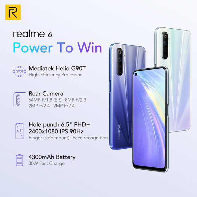 realme 6 NFC Global Version 4GB 128GB Mobile Phone 90Hz Display Helio G90T 30W Flash Charge 64MP Camera Telephone Android Phones 4