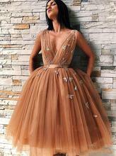 Новое платье цвета шампанского золотого Тюлевое для выпускного