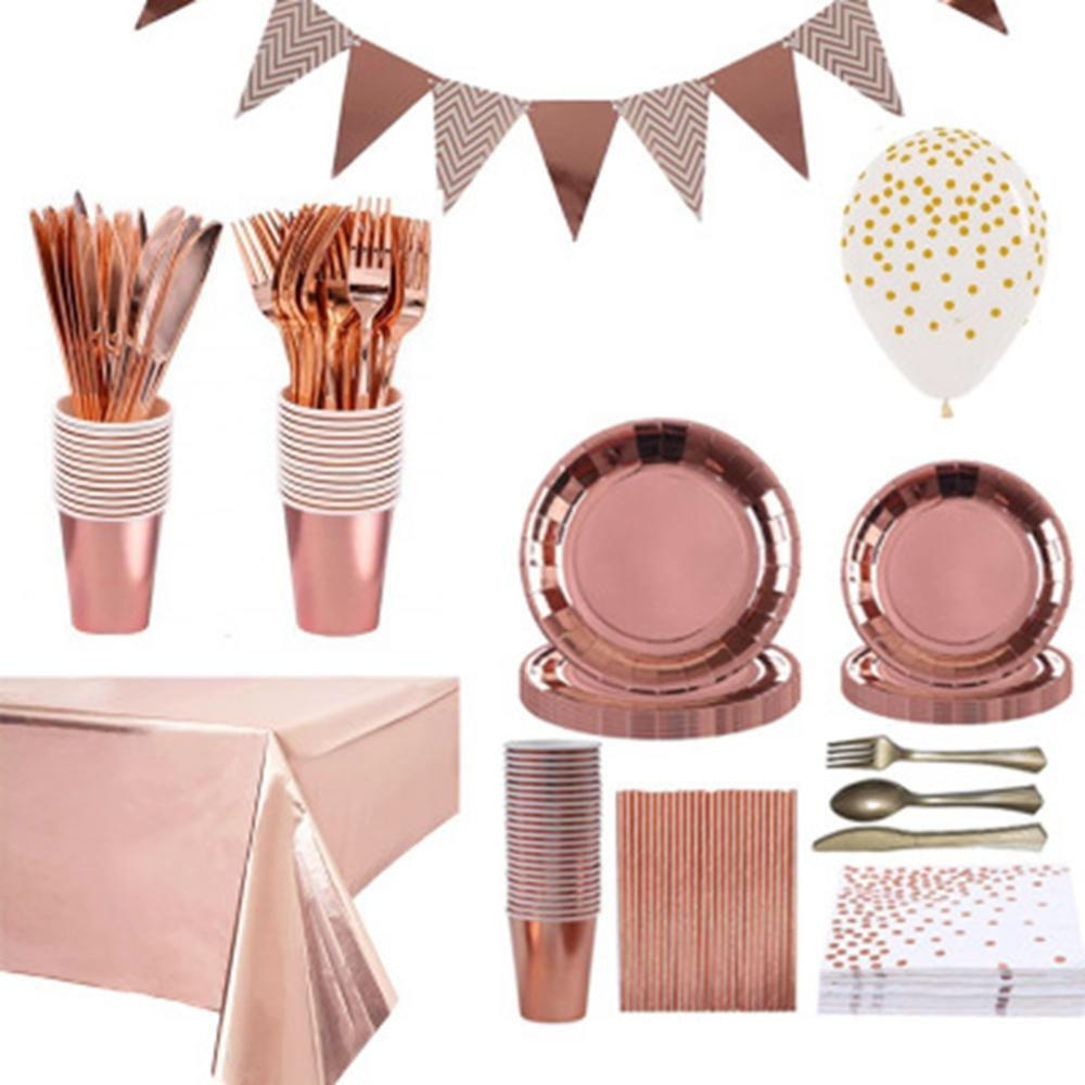 High Quality Hot Stamping Rose Gold Disposable Tableware Rose Gold Plate/Napkin/Cup Adult Happy Birthday Party Deco Kids Wedding