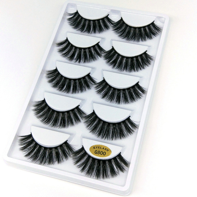 5 Paar Natuurlijke Valse Wimpers Wimpers Eye Make Up 3D Mink Wimpers Wimper Extension Mink Wimper Beauty Tools G800