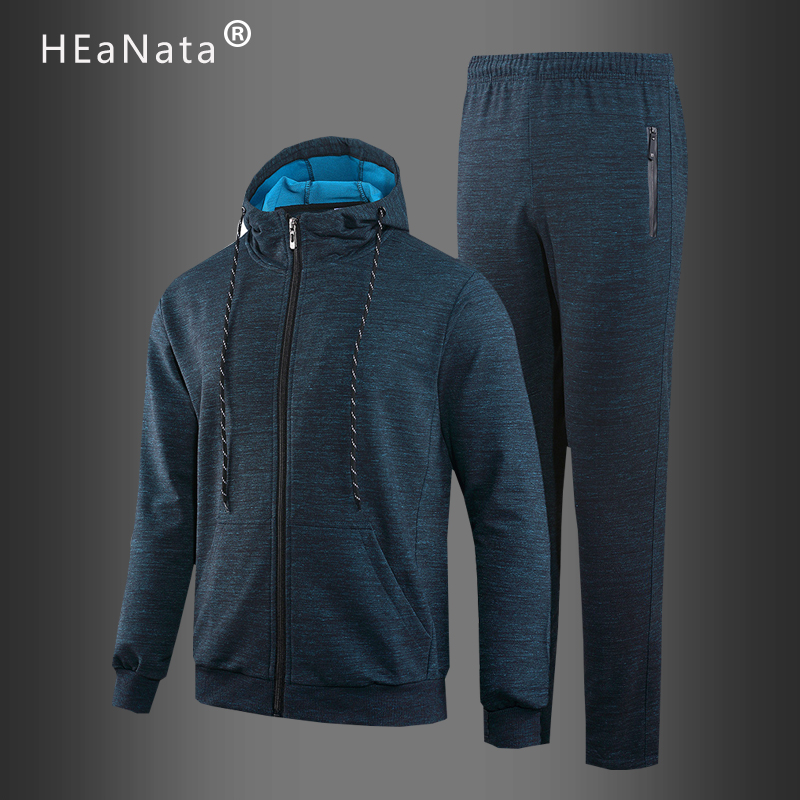 S[ortwear Solid  Color Hooded Jackets With Pants 2020 Winter Autumn Fashion Two Pieces Tracksuit Men Slim Fit Jogging Suits Male