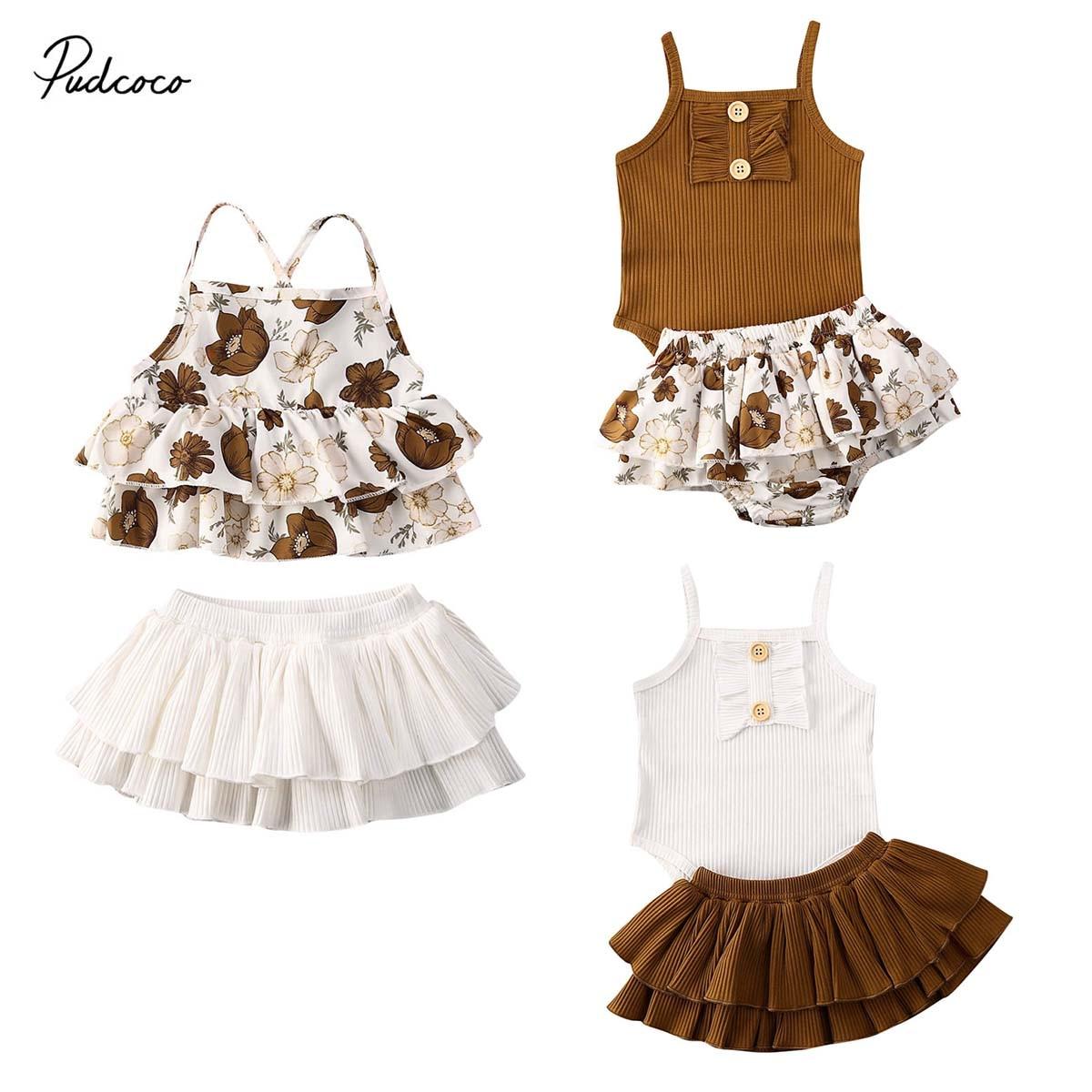 Baby Bottom Newborn Sets for 0-24mos 2Pcs Infant Girl Floral Ruffle Tutu Sleeveless Toddler Top