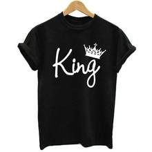 O-Neck Black Summer Top Short Sleeve T Shirt Women Men Queen King Letter Print Short Sleeve T-Shirt Couple Top Family Tee Shirt цена
