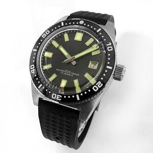 Image 5 - סן מרטין 62MAS גברים אוטומטי שעון נירוסטה שעון צלילה 200m מים עמיד 12 זוהר לוח Relojes Hombre 2018