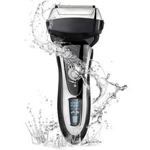 4 להב מקצועי גברים מכונת גילוח נטענת חשמלי גילוח רטוב & יבש לגברים זקן גוזם גילוח מכונת LCD תצוגה