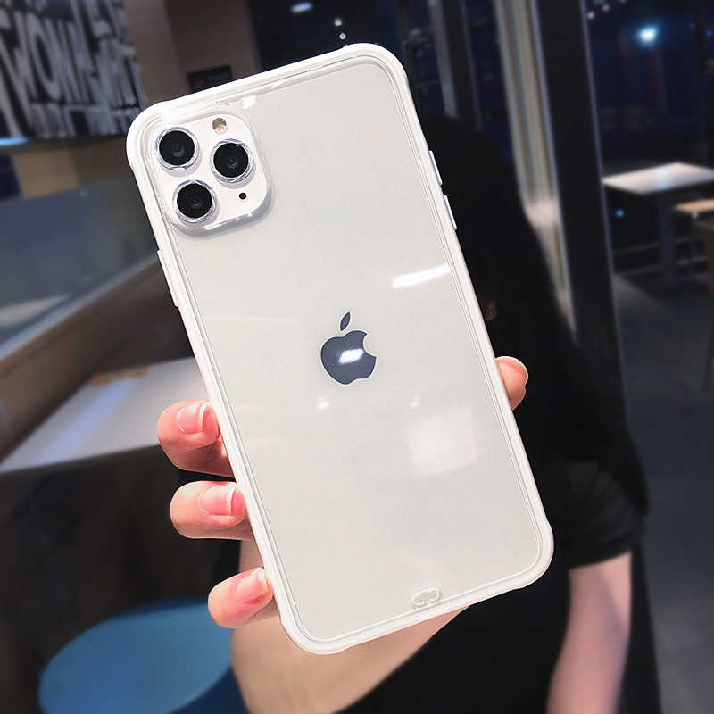 Caixa de telefone simples da cor dos doces para o iphone 11 pro max 8 7 6 plus x xs max xr casos de silicone macios transparentes para o iphone 11 capa