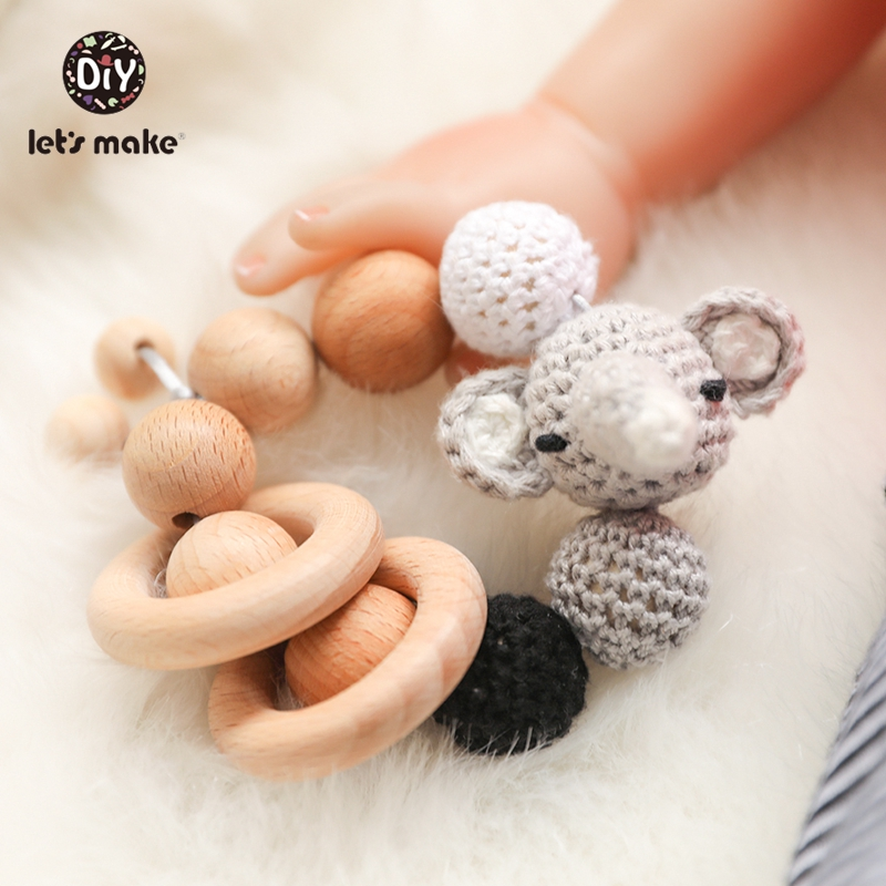 Rattles For Newborns Kids Toys For Boys Crochet Beads Wooden Beech Elephant 1PC Bracelet Educational Toys Accessories Let's Make