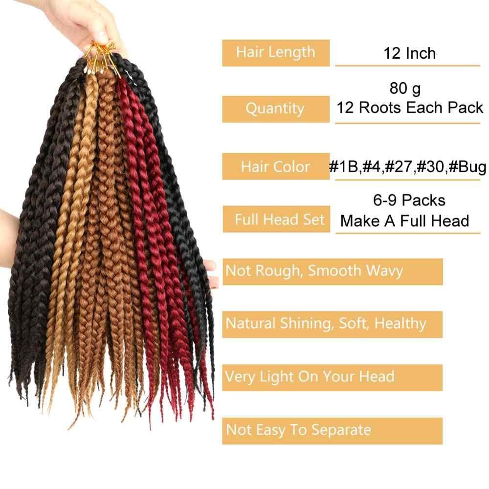 """MTMEI włosy krótkie pudełko warkocze szydełkowe włosy włosy syntetyczne do warkoczy rozszerzenia czarne brązowe burgundowe szydełkowe warkocze 12 """"12 nici"""