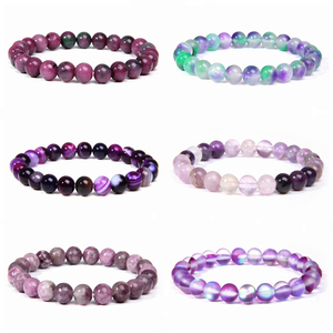Polished 8 mm Natural Fluorite Beads Bracelets For Femme Purple Quartz Lucky Energy Bracelet Women Jewelry Nice Birthday Gift