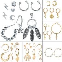 Boho Vintage géométrique boucles d'oreilles goutte pour femmes fausse perle cristal croix oeil lune terre Cactus pendentif ensemble de boucles d'oreilles femme bijoux