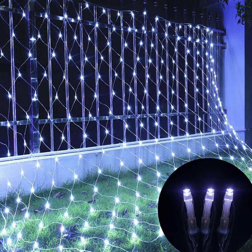 3M * 2M luces de red LED UK AU luces de cadena Led parpadeantes impermeables iluminación de fiesta de Navidad guirnaldas de luces Led al aire libre