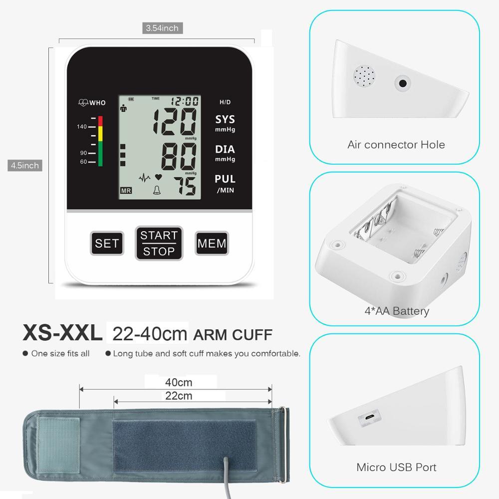 Image 5 - Home Blood Pressure Monitor Upper Arm Automatic Digital LCD Large  Cuff Blood Pressure Monitors Medical BP Heart Rate Pulse MeterBlood  Pressure