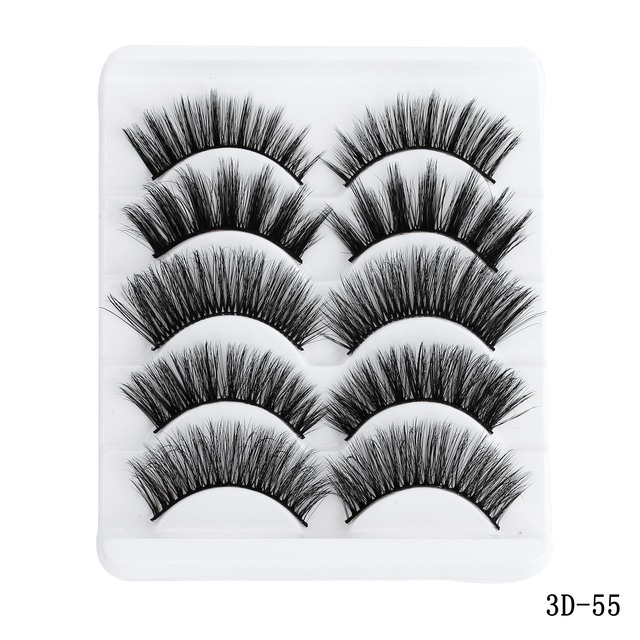 5 Pairs Multipack 5D Soft Mink Hair False Eyelashes Handmade Wispy Fluffy Long Lashes Nature Eye Makeup Tools Faux Eye Lashes 5