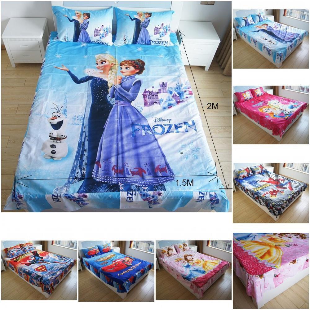 New Frozen Esla Anna Bella Princess  Bedding Sets Spiderman Tangled Bedlinen Flatsheet With Ruffles Pillowcases For Boys Girls