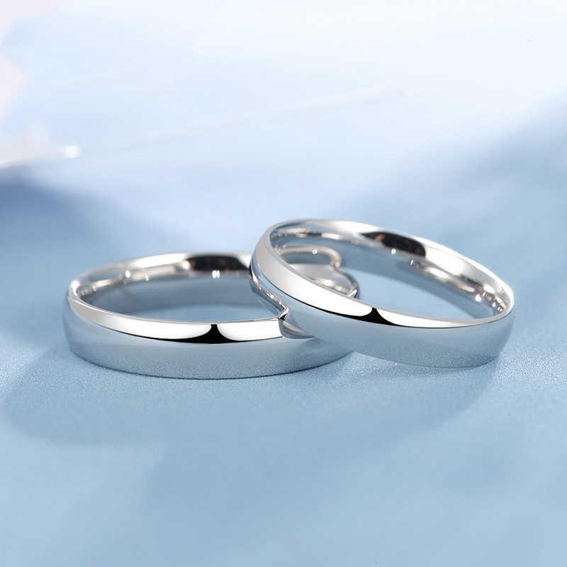 Glossy Putih Platinum Emas Keabadian Cincin Pernikahan Mewah PT950 Mengusulkan Band untuk Pria Wanita Beberapa Pecinta Pengantin Pria Perhiasan