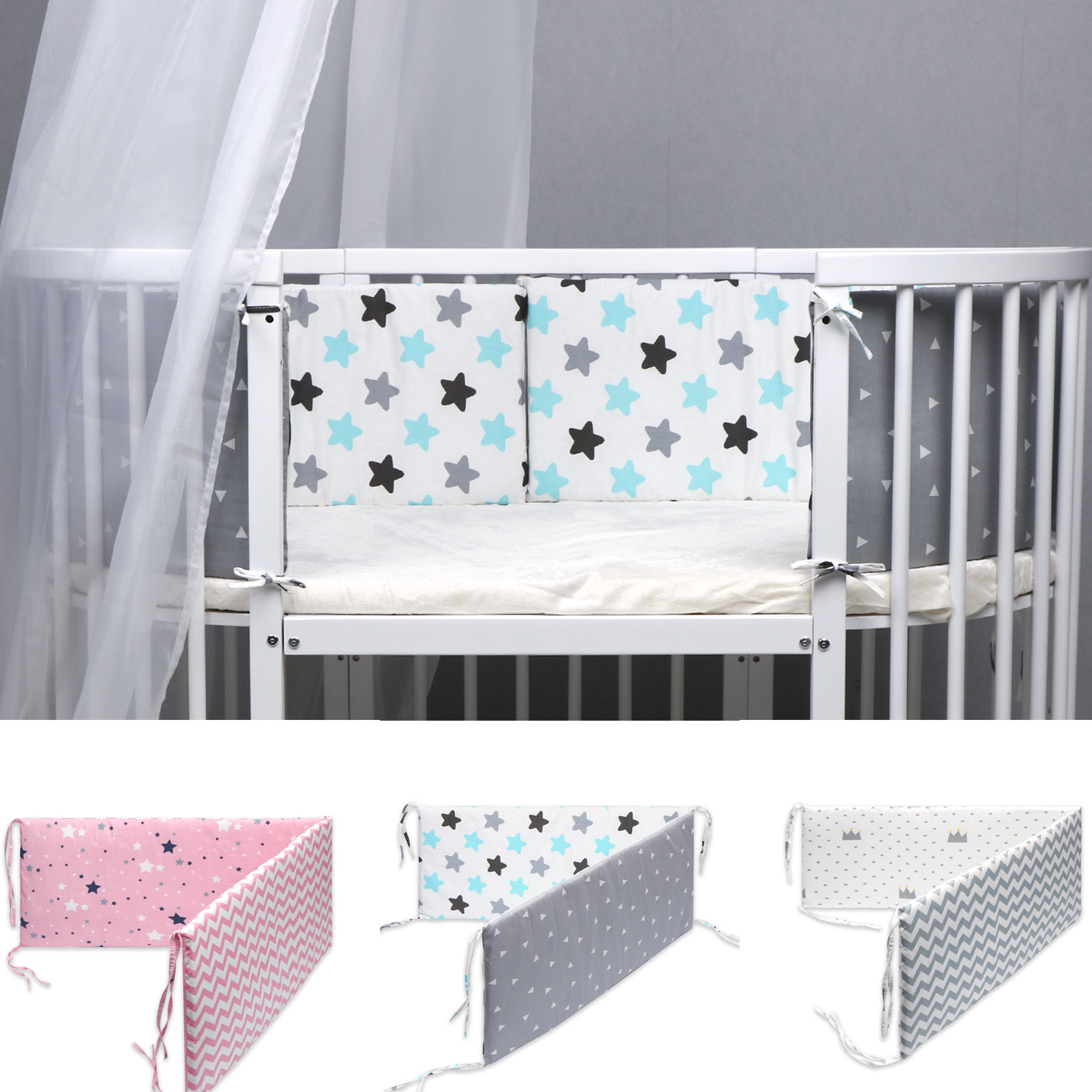 130*30cm Baby Bed Bumper Double-faced Newborn Crib Around Protector Kids Cot Bumper