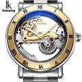Auténtico Ik coloring creativo hueco reloj mecánico automático nuevo diseño relojes acero marca esqueleto hombre reloj Masculino