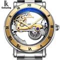 Genuine Ik Colouring Kreative Hohl Automatische Mechanische Uhr Neue Design Uhren stahl Marke Männer Skeleton Relogio Masculino-in Mechanische Uhren aus Uhren bei