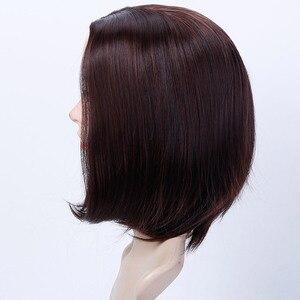 Image 4 - Женский парик из прямых синтетических волос MUMUPI, парик из коричневого, черного, розового и серого цветов, 13 цветов