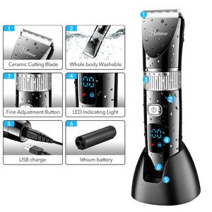 Image 4 - HATTEKER מקצועי שיער גוזז קרמיקה להב עמיד למים חשמלי שיער גוזם LED תצוגת תספורת מכונת עבור גברים