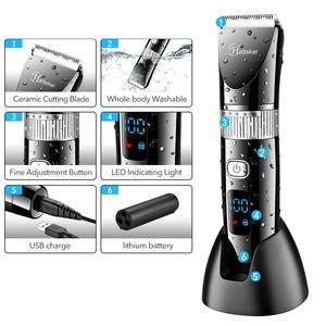 Image 4 - HATTEKER Profissional máquina de Cortar Cabelo Lâmina de Cerâmica Máquina De Corte De Cabelo Aparador de Cabelo Elétrico Display LED À Prova D Água para Os Homens
