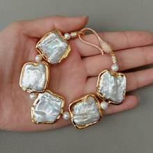 Natuurlijke Geometrische Witte Vierkante Keshi Parel Gouden Kleur Plated Armband 8