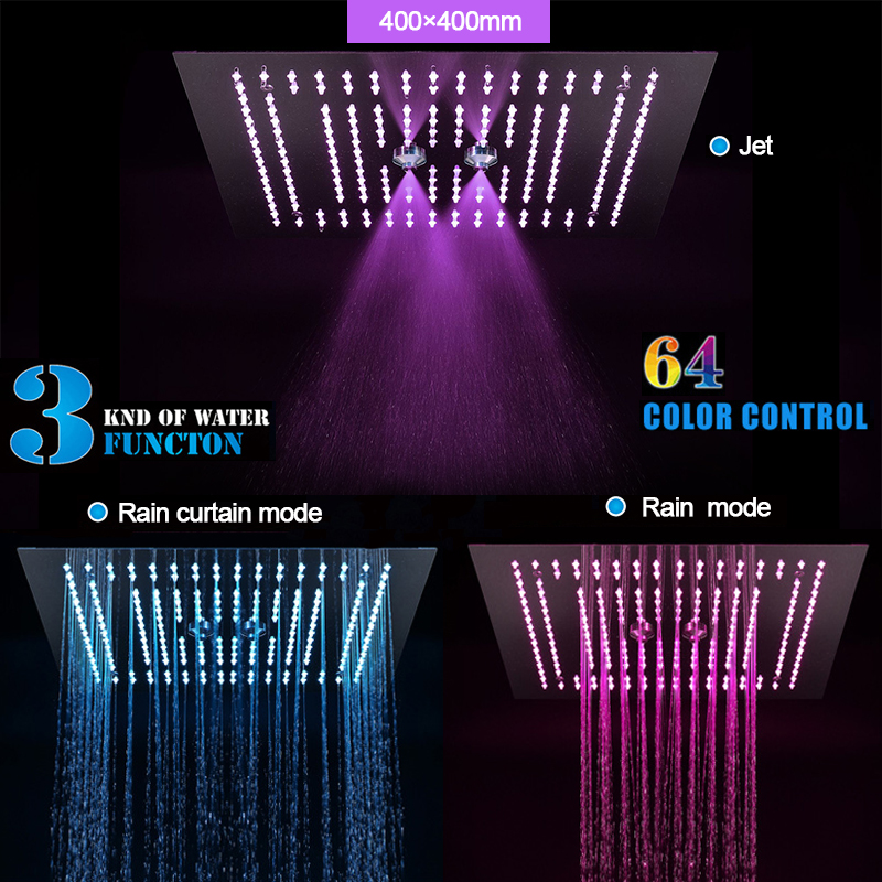 Rainfall Showerhead Concealed Mount LED Misty Bath Shower 304 Stainless Steel Polished Bathroom Shower Rain 64 Colors Over heads in Shower Heads from Home Improvement